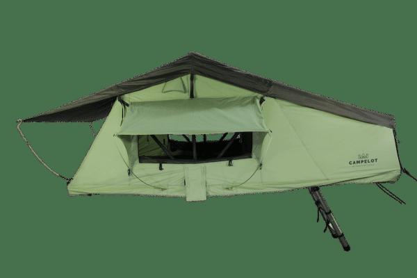 Dachzelt Merlin180 vn Vorne mit geöffneten Fenstern und Leiter