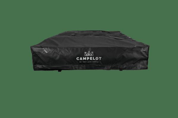 Klappdachzelt Merlin180 verpackt in schwarzem Schutzcover und Befestigungsgurten, frontale Ansicht